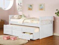 AD-8420-WH Captains collection mission style white finish wood twin size storage trundle bed