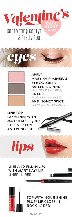 """We always say """"Yes!"""" to an eye-catching winged eyeliner look, especially when paired with a glossy red lip. And guess what? Our NouriShine Plus® Lip Gloss has an antioxidant-rich complex that helps protect, soothe, condition and smooth lips!"""