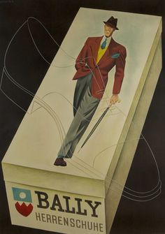 Bally Herrenschuhe Men's Shoes 1938 Original Poster