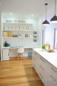 A study nook off a kitchen makes a compact home office and family command centre. A house full of sunshine: Home office makeover reveal! Office Nook, Home Office, Small Office, Office Style, Family Command Center, Home Organisation, Organization Ideas, Study Nook, Office Makeover