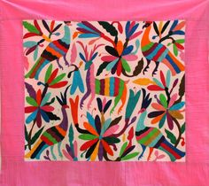 Pink Otomi Baby Blanket Gorgeous and ready to Ship by CasaOtomi