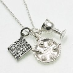 The perfect Passover necklace! Sterling Silver Passover Charm Necklace Matzah Seder Plate Elijah Cup