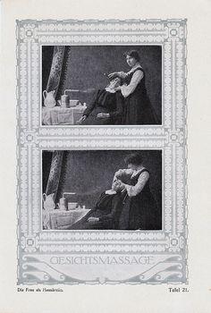 1919 Art Deco FACE MASSAGE print in Jugendstil design.