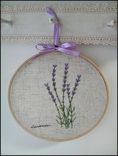 Hand embroidery in hoop Wall Art ( Lavender flower garden ). ¥2 800, via Etsy.