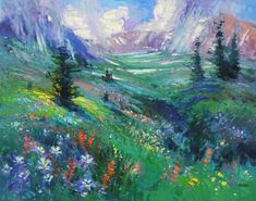 "Don Sahli ""Rain Shower - Columbines at Mosquito Pass"" 60 x 72 Oil on Canvas Southwest Art, List Of Artists, Rain Shower, Impressionism Art, Fine Art Gallery, Still Life, Oil On Canvas, Sculpture, Abstract"