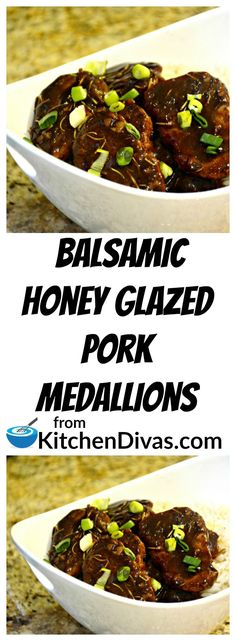 This recipe for Balsamic Honey Glazed Pork Medallions is a delight!  Served on a bed of rice, quinoa, couscous or anything you desire, these pork medallions will satisfy every time!