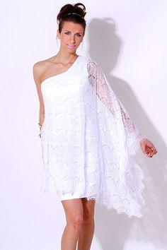 One Shoulder Celebrity Formal Gowns Dresses for Sale White Lace Cocktail Dress, Vestido Dress, Kaftans, Happy Endings, Fashion Company, Formal Gowns, White Women, Dress Me Up, Clubwear