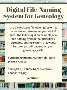 Keeping your digital genealogy files organized can feel like an overwhelming task. You need a standard system for organizing those records—plus some way to label photographs with names, dates and places. Genealogy Organization, File Organization, Organizing, Family Reunion Games, Family Games, Education Quotes, Art Education, Funny Tattoos, Family Organizer