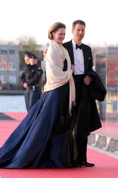 Princess Sophie of Liechtenstein and Hereditary Prince Alois of Liechtenstein arrive at the Muziekbouw following the water pageant after inauguration ceremony.