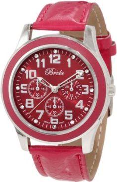 Breda Womens 7210-HotPink Emmaline Classic Hot Pink Bezel Leather Watch