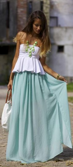 Ootd: Maxi Skirt And Peplum Top. by From Brussels With Love