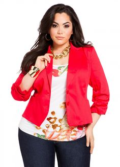 """Red Blazer  #curvy #sexy #thick  Classic and gorgeous curvy woman <3     """"if you like my curvy girl's fall/winter closet, make sure to check out my curvy girl's spring/summer closet.""""   http://pinterest.com/blessedmommyd/curvy-girls-springsummer-closet/pins/"""