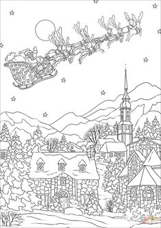 Christmas Village Coloring Pages Lovely Coloring Activities for Seniors Lovely Saint Nickolas Flies Detailed Coloring Pages, Cool Coloring Pages, Cartoon Coloring Pages, Disney Coloring Pages, Mandala Coloring Pages, Adult Coloring Pages, Coloring Books, Coloring Worksheets, Printable Flower Coloring Pages