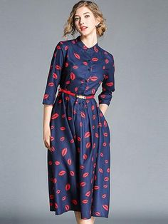 Chic Print Three Quarters Sleeve Belted A Line Dress Midi Dress With Sleeves, Belted Dress, Women's Fashion Dresses, Casual Dresses, Women's Dresses, Skater Dresses, Daily Dress, Bodycon Dress Parties, Flare Dress