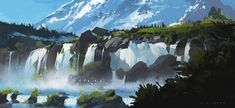 Waterfalls by skybolt on deviantART ★ || CHARACTER DESIGN REFERENCES | キャラクターデザイン • Find more artworks at https://www.facebook.com/CharacterDesignReferences & http://www.pinterest.com/characterdesigh and learn how to draw: #concept #art #animation #anime #comics || ★