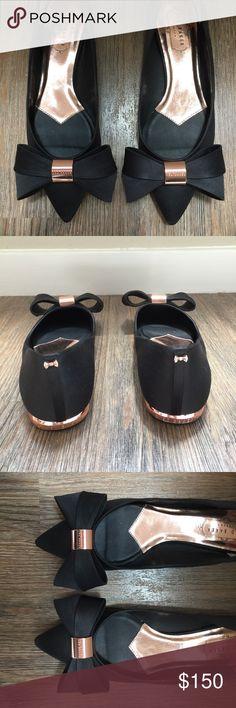 "Ted Baker London bow flats One of a kind Ted Baker London ballet flats. These are super cute. Gently used. Only wear noticeable are on the bottom of the shoe which is pictured above. The material is satin and the finishing metal is rose gold. The sizing is a but confusing the shoe is a size ""39"" which according to the ted Baker conversion chart is a size 7 however I'm a size 7 1/2-8 and these fit just fine. Ted Baker London Shoes Flats & Loafers"