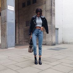 leather + high waisted denim