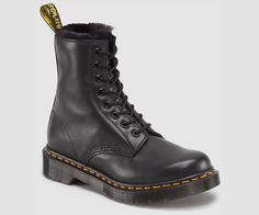Serena boot by Dr. Martens.  Leather boot with faux fur lining.
