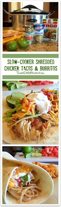 SLOW-COOKER SHREDDED CHICKEN TACOS AND BURRITOS - Just a few ingredients to make, so simple, so good. The only way I make chicken tacos and burritos!!  Tender, juicy, delicious!!    SweetLittleBluebird.com