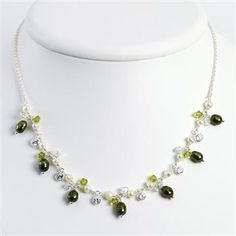 Sterling Silver 16in Green & White Freshwater Cultured Pearls/Crystals/CZ Necklace