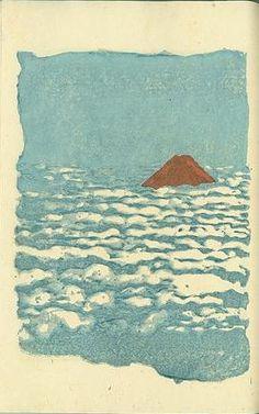 Shinsho Fuji (New praise of Fuji), by Koshiro Onchi, 1921. -- See also at: http://www.arcadja.com/auctions/en/onchi_koshiro/artist/65095/