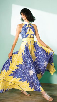 Prisma Ornaments Print Sleeveless Silk Long Dress by Shanghai Tang