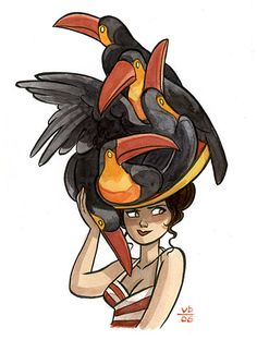Girl with a toucan hat illustration