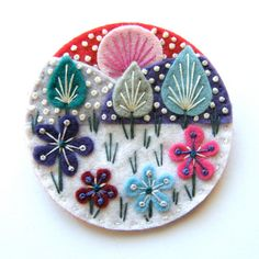 SNOWSCAPE felt brooch pin with freeform embroidery - scandinavian style. Gorgeous.