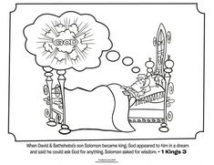 Kids coloring page from What's in the Bible? featuring King Solomon from 1 Kings 3. Volume 6: A Nation Divided.