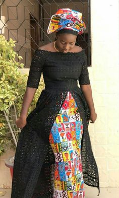 Friday blue lace top African print skirt and scarf blue mules African Fashion Ankara, Latest African Fashion Dresses, African Dresses For Women, African Print Fashion, Africa Fashion, African Attire, African Wear, African Women, African Style