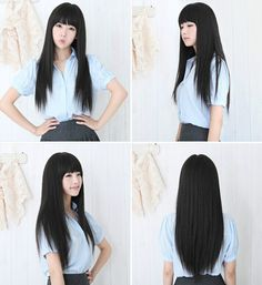 2016 New Black Womens Long Straight Full Hair Clip Wigs Cosplay Human Hair Wig Neat Bangs JF207