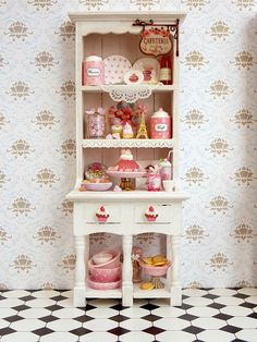 Shades of Pink Hutch Unique Miniature by ParisMiniatures on Etsy
