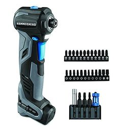 HAMMERHEAD HCID120-30 12V Compact Impact Driver/Auto Hammer with 30-pc Impact Bit Kit Combo #deals
