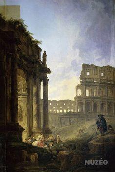 « Paysage de ruines avec le Colisée » ; Hubert Robert - Recherche Google