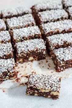 Chocolade dadelwalnotenreepjes met kokos - Zoetrecepten