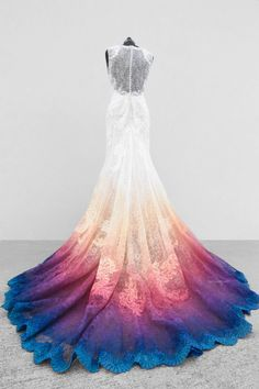 Sunset Lace Ombre Gown with a Boho Vintage flare, Shade of Yellow, Coral, Pink, Purple and a Bright Blue make this a unique and stunning wedding gown by Artist Taylor Ann Art - of Canvas Bridal Cute Prom Dresses, White Wedding Dresses, Pretty Dresses, Dip Dye Wedding Dress, Unique Colored Wedding Dresses, Vintage Formal Dresses, Princess Prom Dresses, Awesome Dresses, Pageant Dresses