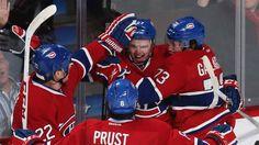 Gally celebrates his first NHL goal!   Gally et les Habs célébrant son  premier but dans le LNH ! fc1fe7b44