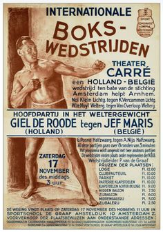 Some very nice vintage graphics! Boxing Posters, Movie Posters, Box Art, Netherlands, 1940s, Holland, Graphic Design, Workout, Retro