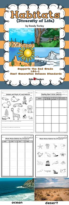 $ TERRIFIC!  6 activities that cover the 2nd grade Next Generation Science Standard 2.LS4-1.  Packet also includes 8 full color habitat pictures.
