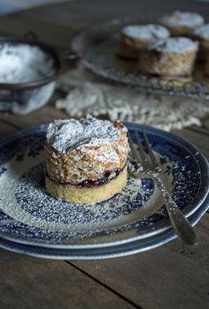 Zora kolač - Croatian dawn cake. Layers of chestnut meringue, jam and soft pastry.