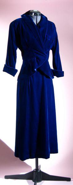 1940s Blue Velvet Suit