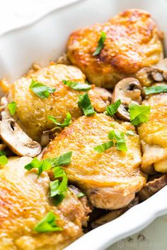 DINNERChicken Thighs with Mushrooms and Sweet onions INGREDIENTS 1 Tbsp olive oil 3 pounds skinon bonein thicken thighs trimmed of excess fat teaspoon salt 1 pound cremin. Chicken Thighs Mushrooms, Sauteed Mushrooms, Mushroom Chicken, Lemon Chicken, Creamy Chicken, Baked Chicken, Boneless Chicken, Shallot Recipes, Chicken Recipes Video