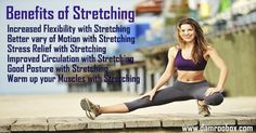 Benefits of Stretching Exercises. Increased Flexibility with Stretching Better vary of Motion with Stretching Stress Relief with Stretching Improved Circulation with Stretching Good Posture with Stretching Warm up your Muscles with Stretching. www.damroobox.com #streching   #flexibility   #stressrelief   #exercise   #muscles