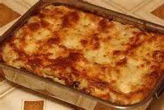 LASAGNA:  Cook 1 lb hamburger, diced onion, salt & pepper.  Add lg can crushed tomatoes, lg tomato paste, 2 cups water, 1 tbs parsley, 2 tsp salt, tsp sugar, tsp garlic powder, tsp pepper, tsp oregano & tsp basil.  Simmer uncovered for 30 minutes.  Cook 1/2 pkg lasagna noodles in boiling salt water, drain. In baking dish, spread 1 cup sauce & 1 lb cottage cheese.  Alternate layers of noodles, sauce & 3 cups Mozzarella cheese & 1 cup Parmesan cheese, ending with sauce.  Bake 350° until…