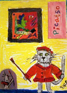 """Picatso"" ACEO Art Card Cat Toon Picasso Artists & Cats  Picasso and one of his works, catified! A young mouse wants to help!"