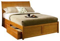 Atlantic Furniture Bordeaux Platform Bed with Flat Panel Footboard in Caramel La transitional-beds