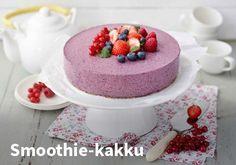 Smoothie-kakku, Resepti: Valio #kauppahalli24 #resepti #smoothie #kakku #alpen #jälkiruoka