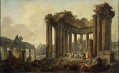 """""""Paisaje con las ruinas del Templo de Ronda, con una estatua de Venus y un monumento a Marco Aurelio"""" de Hubert Robert (1733-1808, France)"""
