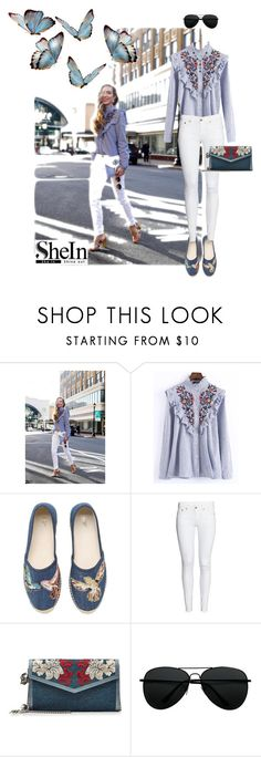 """She (is) in Blue"" by fashionista-sarah ❤ liked on Polyvore featuring WithChic, RED Valentino, Alexander McQueen and 1928"