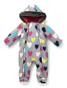 This pretty snowsuit is great for cold days out. With integral booties up to 12 months and turn back mittens to keep little toes and fingers toasty. Keep dry with our clever water repellent technology.